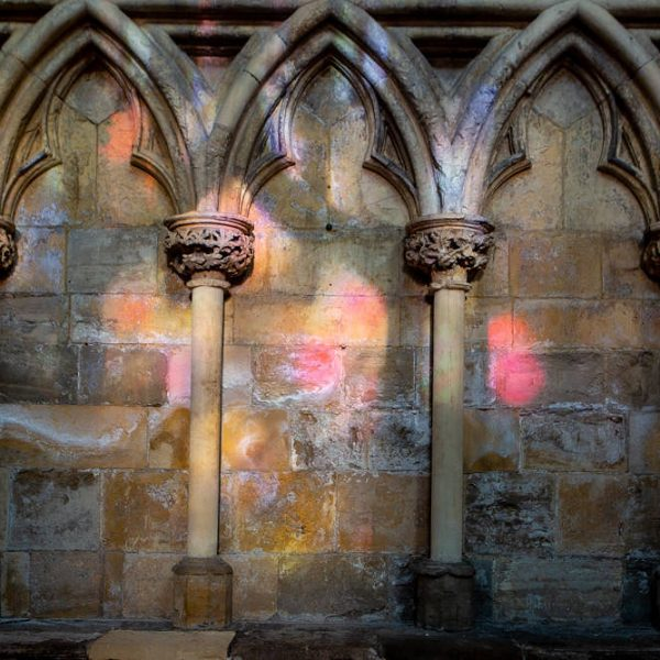 Light dancing through the windows in Selby Abbey